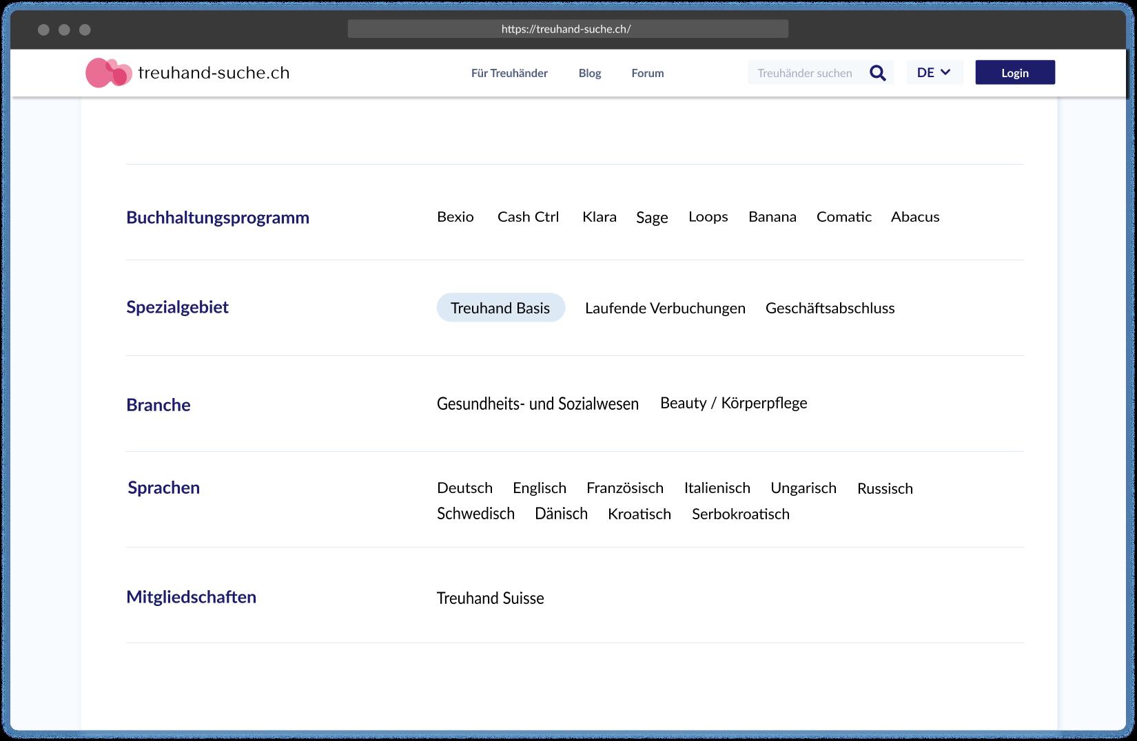 dienstleistungen screenshot